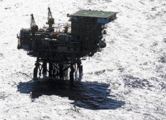 Plataforma de exploração de petróleo nos campos do Pré Sal.