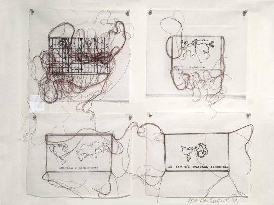 """""""Variáveis, Variações, Variables"""", 1976-2010. Serigrafia e bordado sobre lenços"""
