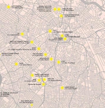 A imagem mostra a cidade de São Paulo mapeada com os pontos que simbolizam as instituições culturais participantes da 34ª Bienal de São Paulo