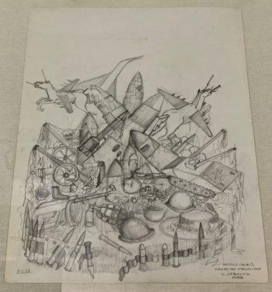 Peça da exposição Ratos e Urubus - Desenhos dos carros alegóricos do desfile Ratos e Urubus feitos por Claudio Urbano