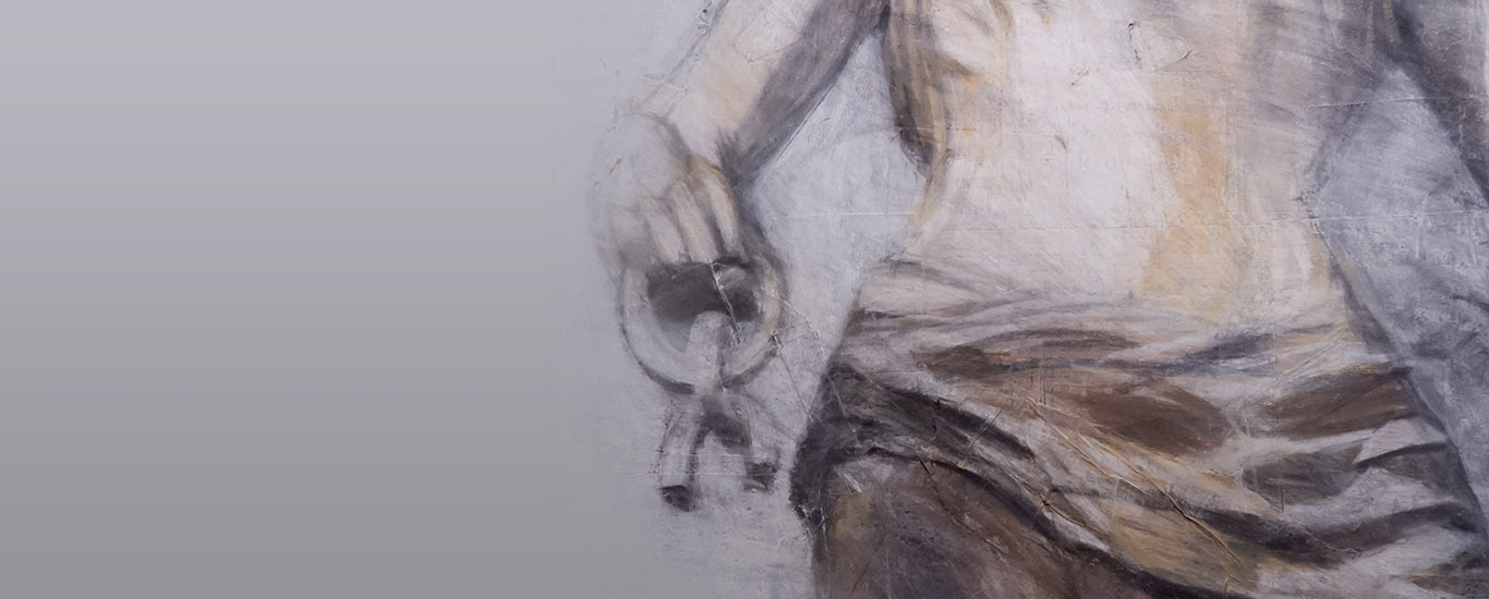 "Detalhe da obra de Elena Blasco, ""Boceto apócrifo sobre La Libertad de Lola Mora"", 2016"