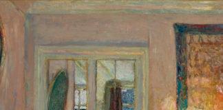 Pintura de Édouard Vuillard, 'A princesa Bibesco', terminada em meados dos anos 1920. Na pintura uma mulher senta sozinha em casa à noite, com um abajur ligado e uma janela alta e descoberta às suas costas