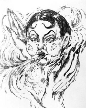 300 desenhos A flying ghost with kiss curls por Olga Carolina