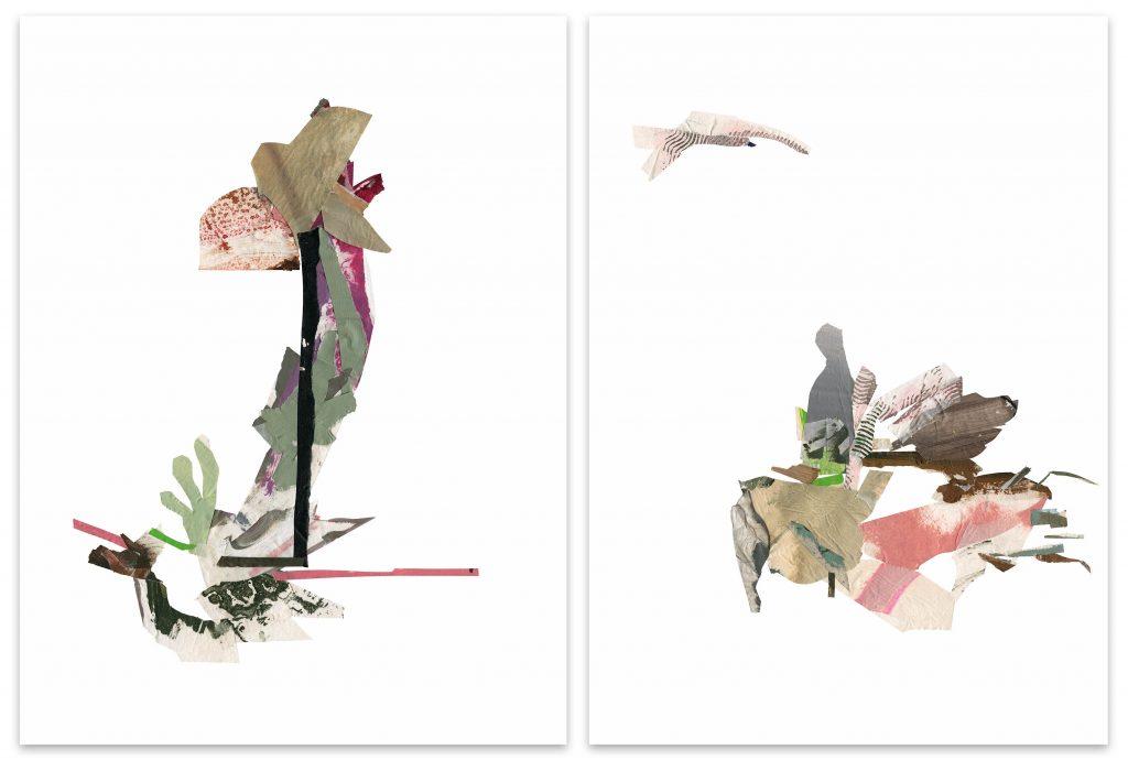Lucia Laguna, Colagem nº 22 (jardim), 2019 e Colagem nº 23 (paisagem), 2019, díptico. Uma das obras participantes da ArtRio 2020 pela EAV Parque Lage. Imagem: Divulgação.