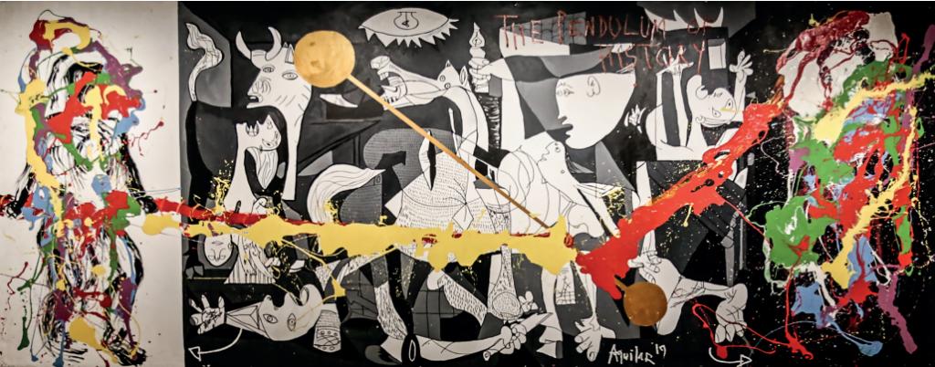 """""""Guerra ou Paz"""", de Aguilar, é uma acrílica e esmalte sobre tela"""