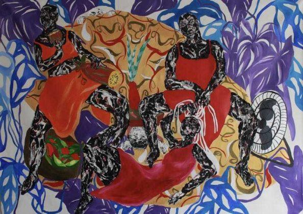 """""""Espiral dos afetos que circulam enquanto deixa-se ser vestido e visto por dentro traumas que carregamos"""", de Heloisa Hariadne. Texto Claudinei arte afro-brasileira"""