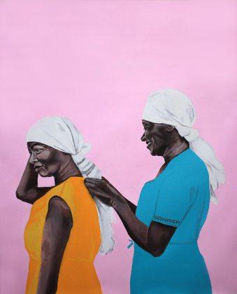 """A Portas Vilaseca Galeria apresenta as produções mais recentes do brasileiro No Martins, que através da arte coloca em foco questões como racismo, violência policial e encarceramento em massa. """"Ruth & Carolina"""" é uma das obras expostas na Untilted, Art Miami Beach OVR"""