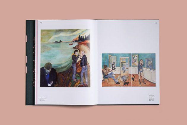 """Livro """"20 em 2020"""" aberto, com duas pinturas ilustradas, uma em cada página"""
