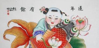 Ano Novo Lunar. Pintura em madeira feita por Feng Qingju. A obra adota técnicas da xilogravura e da pintura manual. A temática da criança segurando a carpa transmite desejos de boa fortuna, felicidade e uma longa vida. Foto: coleção da China Intangible Heritage Industry Alliance / Google Arts & Culture.