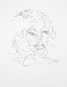 Ai-Da Self-portrait I, 2019. Artwork by Ai-Da. Image: Ai-Da Robot Project / Reproduction from Ai-Da's website.
