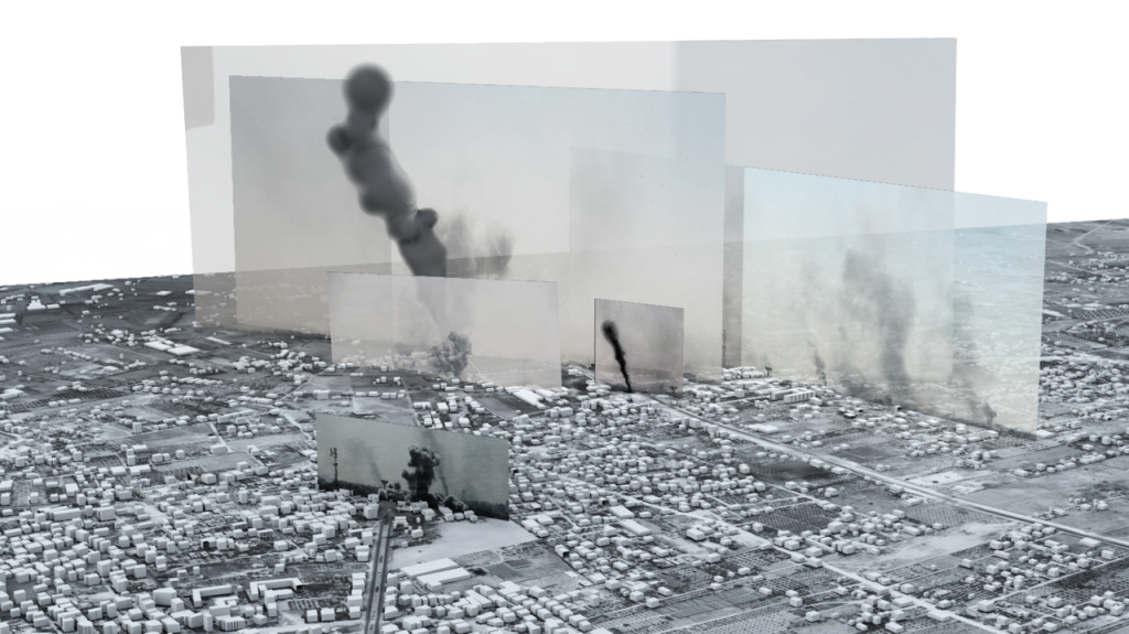 """Neste trabalho, o Forensic Architecture incorporou fotos e vídeos, reunidos principalmente de redes sociais e fontes online, no modelo 3D para reconstruir a história da batalha da """"Sexta-feira Negra"""", ocorrida em 1º de agosto, durante a guerra de Gaza de 2014, na qual muitos civis palestinos foram mortos por bombardeios israelenses. Foto: Reprodução."""