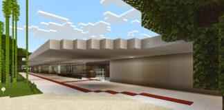 Área externa do MAM SP recriada no Minecraft. Foto: Leonardo Sang / Divulgação.