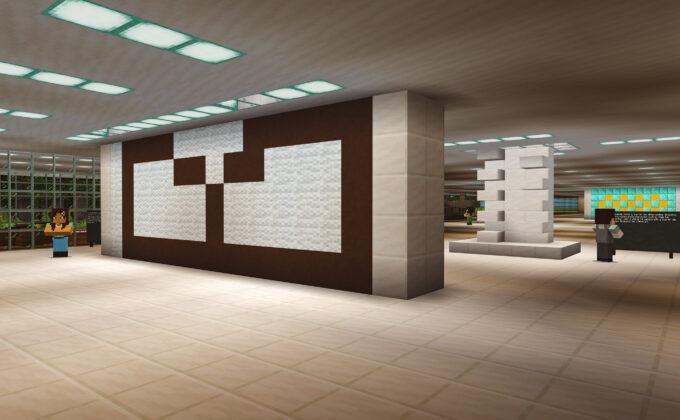 Obras do museu, recriadas utilizando a linguagem de blocos do Minecraft, são mostradas dentro do jogo. Foto: Divulgação.