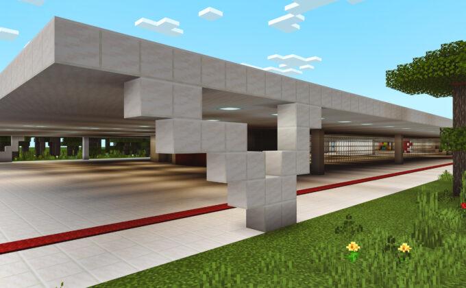 Área externa do MAM SP recriada no Minecraft. Foto: Divulgação.