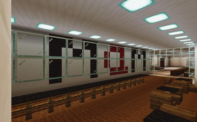 Área interna do MAM SP recriada no Minecraft. Foto: Divulgação.