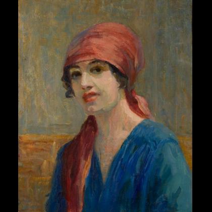 """Tarsila do Amaral, """"Autorretrato com lenço vermelho"""", 1921. Óleo sobre tela. 54,5 x 43,6 cm. Coleção Particular, Porto Alegre, RS"""