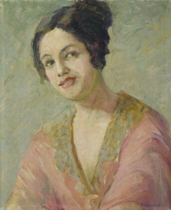 """Tarsila do Amaral, """"Autorretrato com vestido laranja"""", 1921, Óleo sobre tela, 50 x 41 cm. Col. Banco Central do Brasil (em comodato com o MASP)"""
