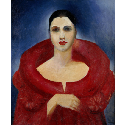 """Tarsila Amaral, """"Autorretrato (Manteau Rouge)"""", 1923, óleo sobre tela, 73 x 60,5 cm. Museu Nacional de Belas Artes, RJ."""