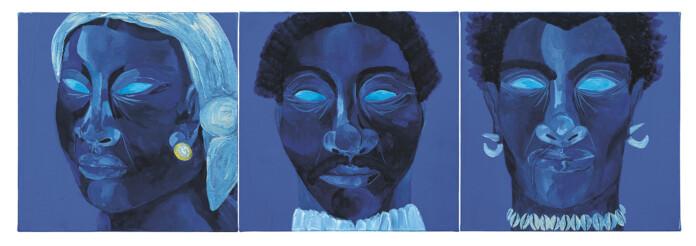 Retratos de Benta Maria, Antonio Dutra e Manuel do Sacramento por Igi Ayedun. Foto: Cortesia Companhia das Letras e Pinacoteca de São Paulo
