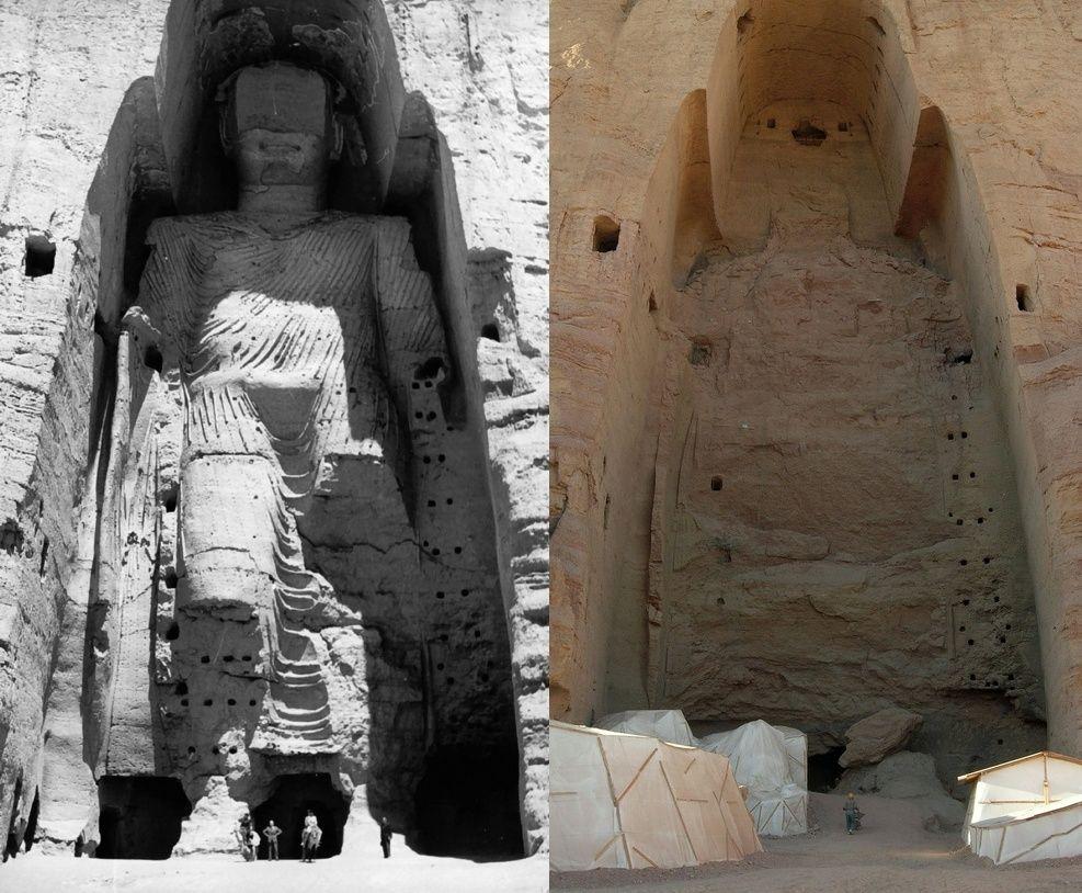 Os Budas de Bamiyan, no Afeganistão, foram destruídos pelo Talibã há 20 anos. Foto: Reprodução The Art Newspaper