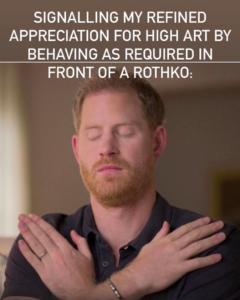 """@jerrygogosian: """"Demonstrando minha apreciação refinada pela alta cultura ao me comportar conforme exigido diante de um Rothko"""". Cortesia da produtora."""