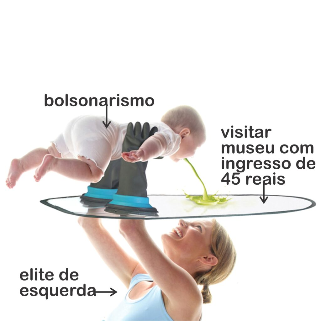 """By @newmemeseum. It reads, in Portuguese, """"Bolsonarismo"""" / """"visiting museums with R$ 45 tickets"""" / """"leftist elite"""". Courtesy of @newmemeseum"""